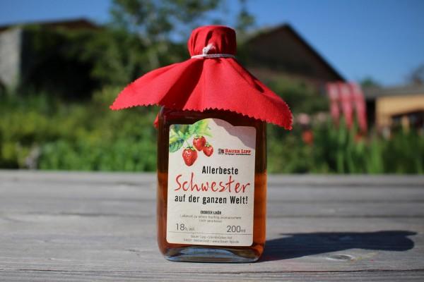 Erdbeer Likör, Allerbeste Schwester auf der ganzen Welt! 200 ml