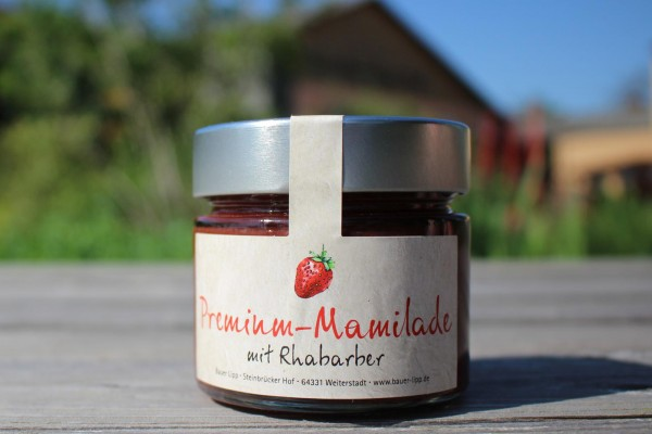 Premium Mamilade, Erdbeere mit Rhabarber 210 g