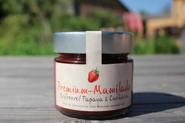 Premium Mamilade, Erdbeere/ Papaya & Cachaca 210g