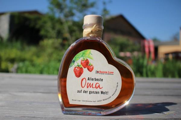 Erdbeer Likör Herz, Allerbeste Oma auf der ganzen Welt! 200 ml