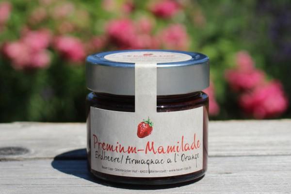 Premium Mamilade, Erdbeere/ Armagnac a L'Orange 210g