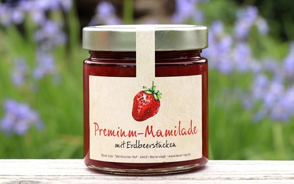 Premium Mamilade, mit Erdbeerstücken 410 g