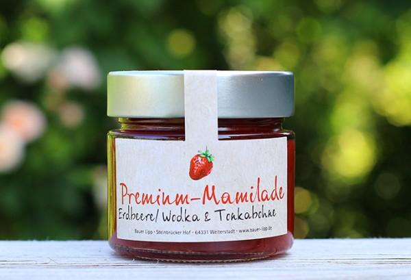 Premium Mamilade, Erdbeere/ Wodka & Tonkabohne 210 g