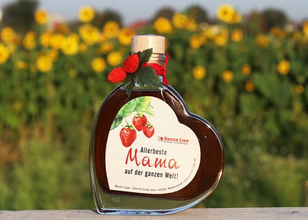 Erdbeer Likör Herz, Allerbeste Mama auf der ganzen Welt! 200 ml