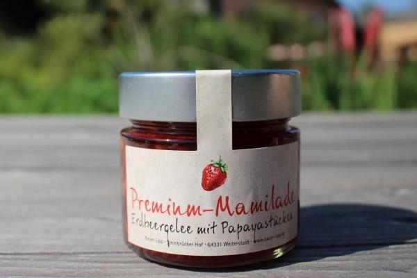 Premium Mamilade, Erdbeergelee mit Papayastücken 210 g